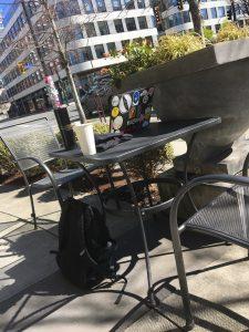 Patio table at the Macchiato Cafe in downtown Victoria.